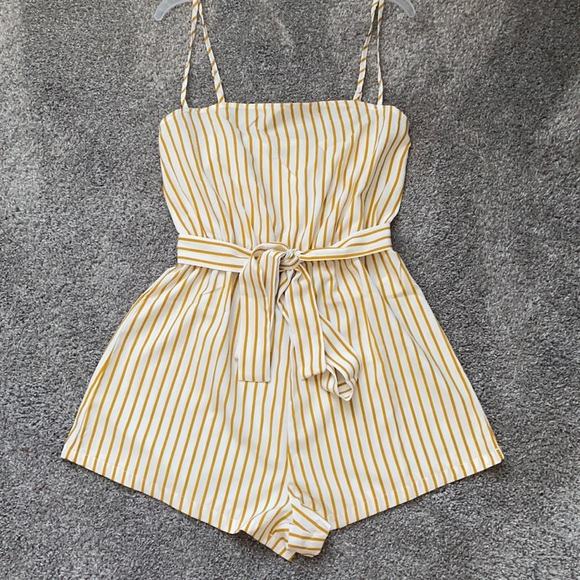 stripped yellow romper